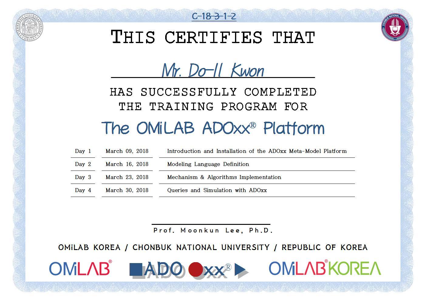 [CBNU] Mr. Do-Il Kwon - 2018 제 3차 ADOxx Training 수료증-f001.jpg