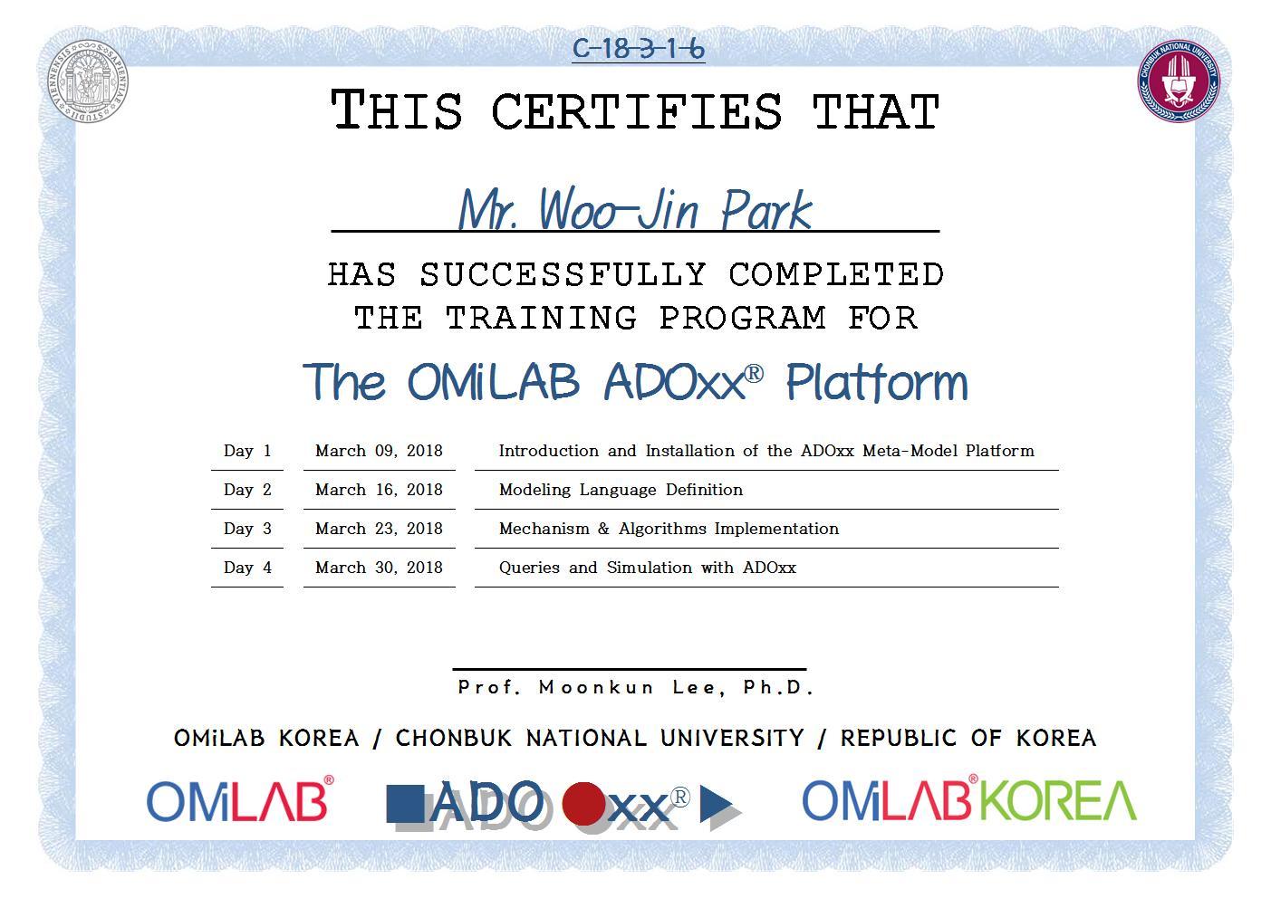 [CBNU] Mr. Woo-Jin Park - 2018 제 3차 ADOxx Training 수료증-f001.jpg