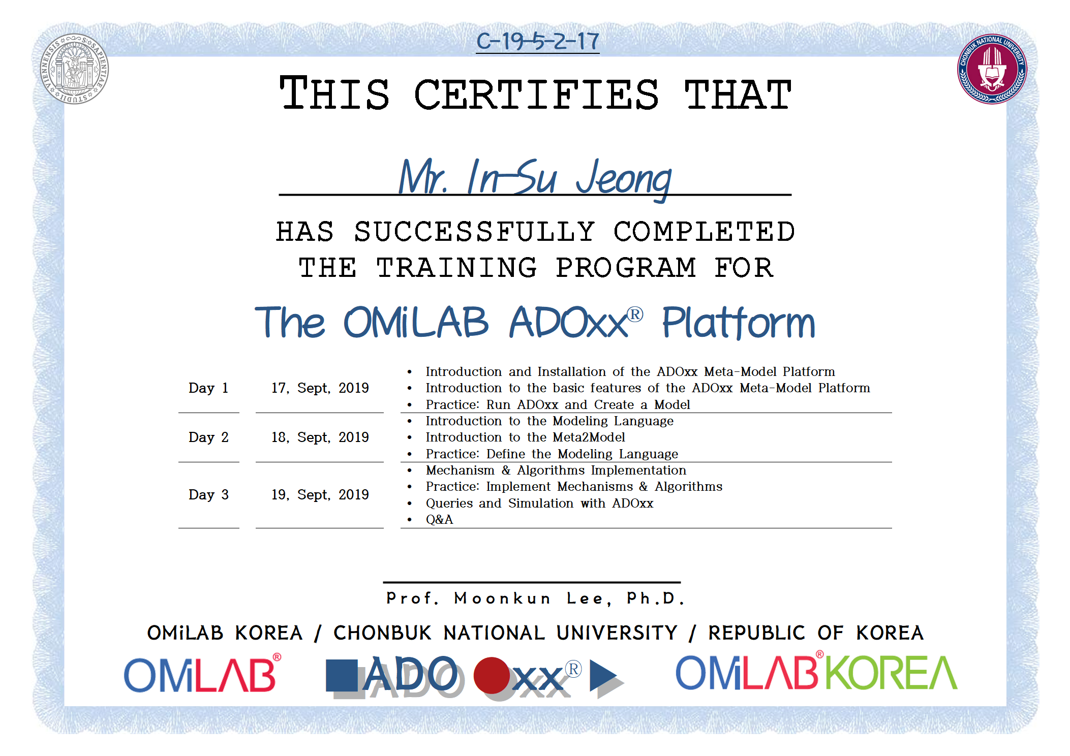 17. [CBNU-U] Mr. In-Su Jeong - 정인수 - 2019 제 5차 ADOxx Training 수료증-f.png
