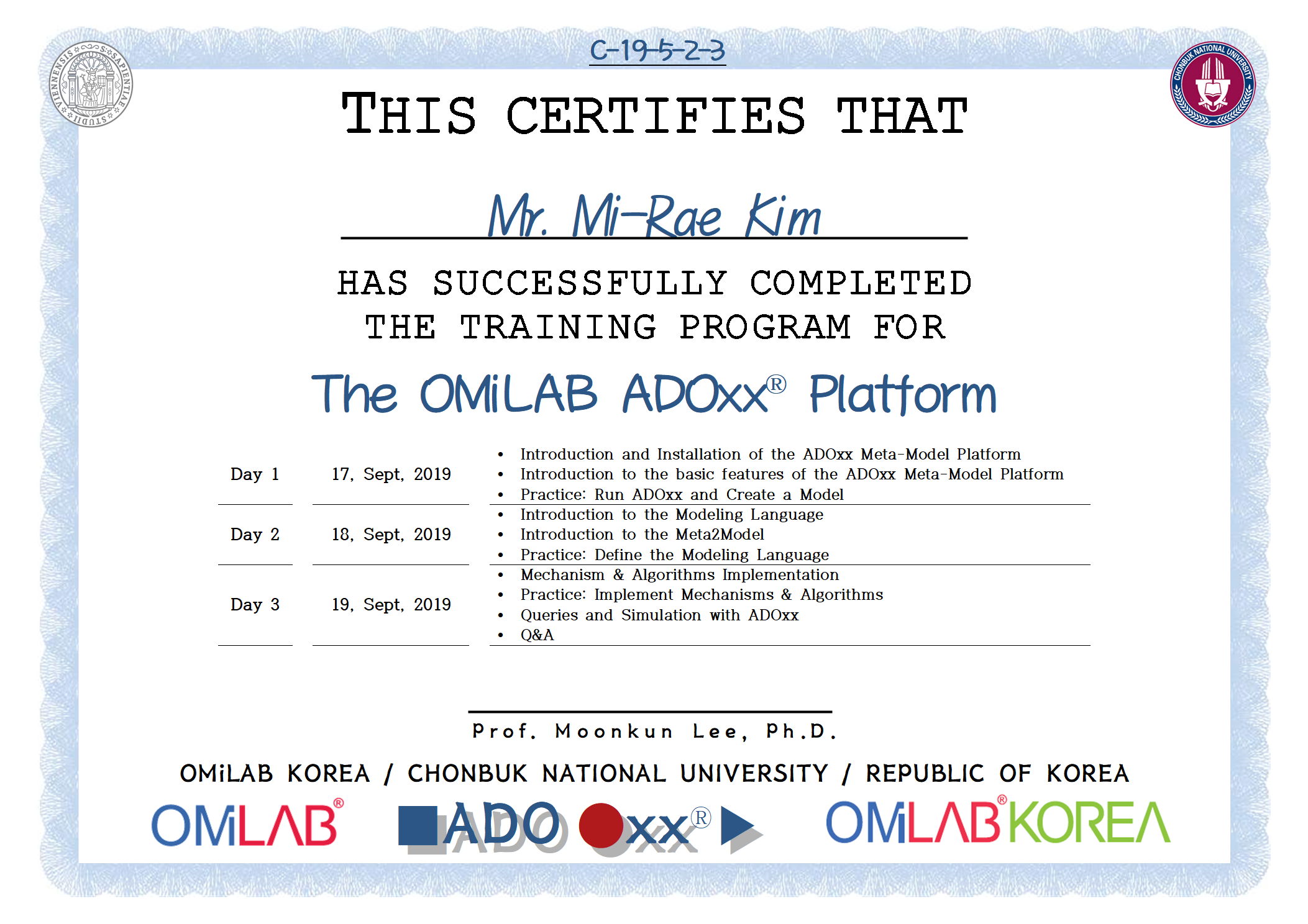 3. [CBNU-U] Mr. Mi-Rae Kim - 김미래 - 2019 제 5차 ADOxx Training 수료증-f.png