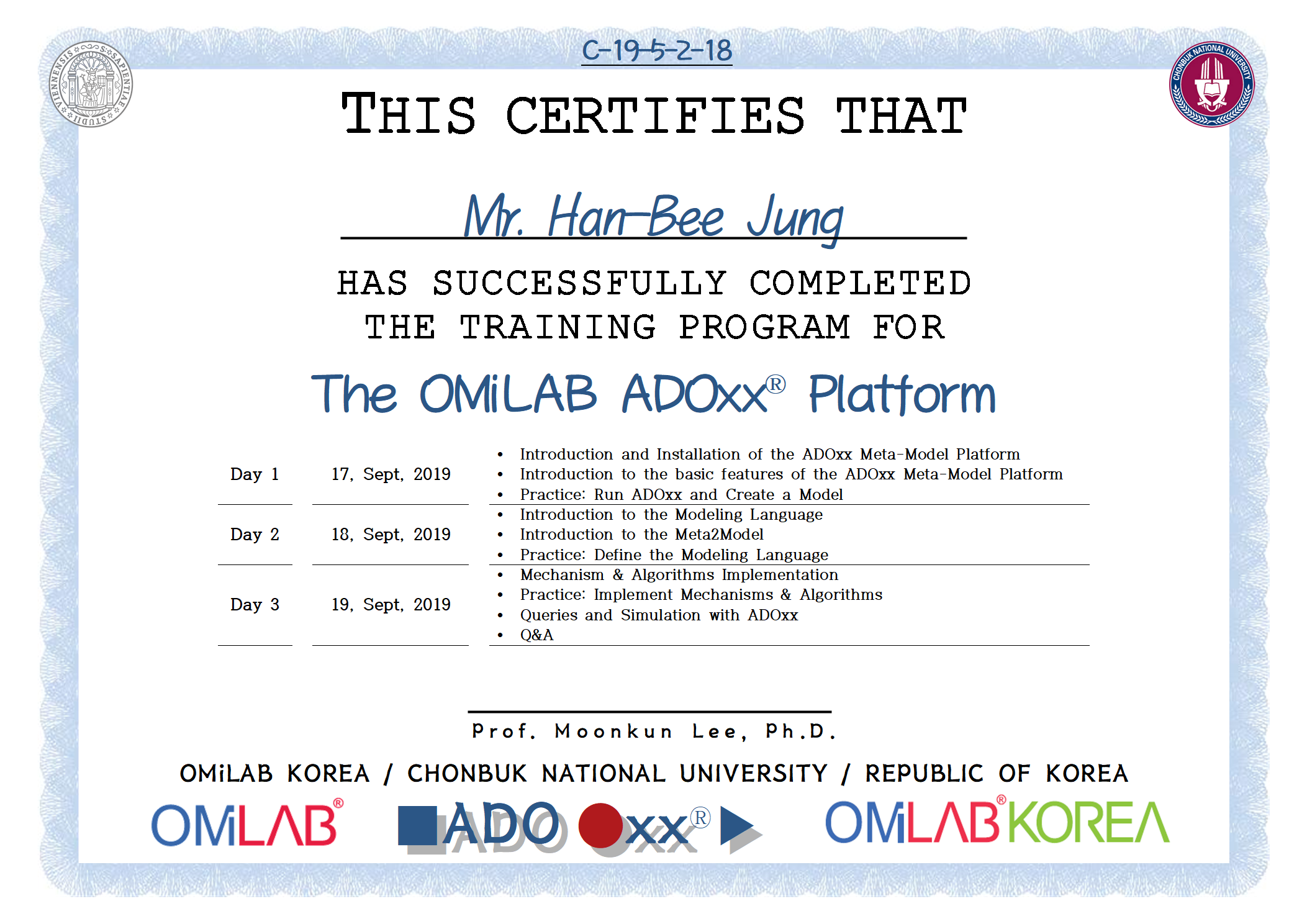 18. [CBNU-U] Mr. Han-Bee Jung - 정한비 - 2019 제 5차 ADOxx Training 수료증-f.png